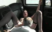 Amateur passenger fucked in the backseat