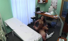 Brunette patient rides her doctor