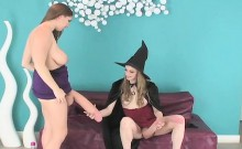 Frisky teens poke the biggest strapons and spray ejaculate a
