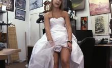 Shamless Blonde Bride Sucking Dick In Pawn Shop Office