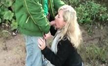 Amateur blonde giving headjob outside