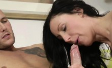 Classy mature loves young dudes jizz in mouth