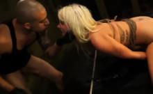 Blonde slut Layla Price anal fucking tied big dick