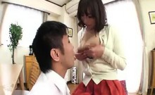 Seductive milf has a young man massaging and kissing her bi