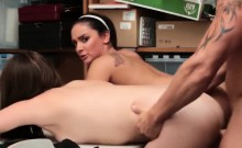 Brunette Teen And Step Mom Doggy Style Office