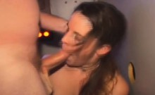 Brunette Amateur Sucking Dicks And Taking Facials In A Booth