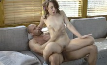 Adorable and brunette Harley Ann Wolf gets hammered by coach