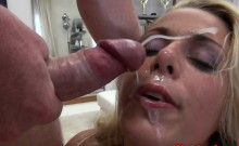 Glamorous babe facialized after a throatfuck
