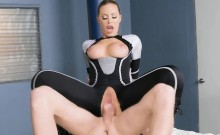 Human cyborg policewoman with big tits gets mind controlled