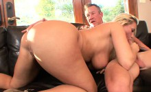Hot ass blonde rides her guy reverse cowgirl style