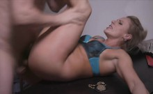 Blonde babe gets fucked by the detective