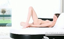 Skinny russian doll Gloria opens bald snatch