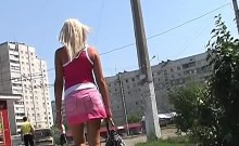 A kinky picked up euro amateur outdoor upskirt in hd