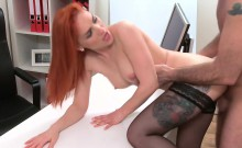 Busty Redhead In Stockings Has Casting