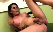 Shemale Bella Atrix Stuffs Vegetables Up Her Ass