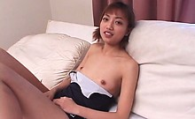Petite Japanese sex doll turned on with a small but
