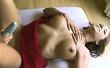 Brunette With Big Tits Performs On Massage Table