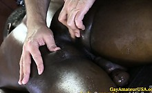 Straight guy getting felt up by masseur