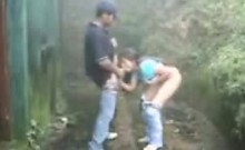 Couple take a hike and fuck outdoors