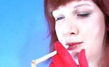 Brunette slut smoking while stripping on cam