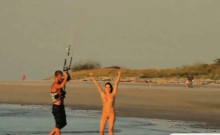 Hot playmates tryout kite boarding naked