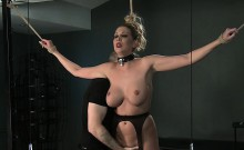 Busty blonde sub vibed in bdsm