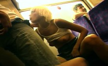 Blonde flashes has sex and takes a cumshot on a train