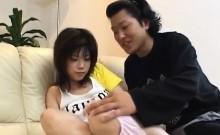 Kurumi pretty Asian teen plays with pussy and swallows hard