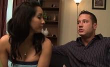 Busty Latina gets her twat sprayed with cum