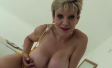 Adulterous british mature lady sonia displays her big boobs