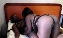 Lesbians Faida and Kali make love on bed