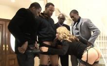 Huge boobs blonde babe gets dped by massive black cocks