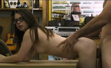 Hot amateur brunette girl with glasses fucked by pawn guy