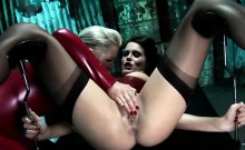 Two stunning chicks share a thick member