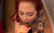 Hardcore sex session with an inked redhead