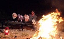 Nasty tattooed blond babe gets fucked near the bonfire