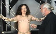 Woman endures heavy bondage sex at home in movie scene