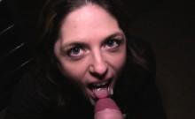 Hot brunette fucking huge cock in public