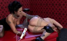 Gorgeous horny lesbian playgirl gets her sweet pussy toyed