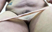 Sexy fat brunette in lingerie plays with her new sex toy