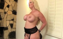 Busty blonde lets him worship her ass
