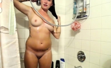 Jayden Cole rub her firm boobs before taking a shower