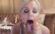 Mega Busty Blonde MILF Fucks Two Giant Dildos