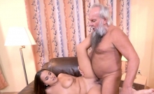 busty horny brunette Olivia vs Grey Old