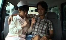 Oriental hottie has a dude masturbate his dick before her
