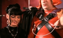 Nasty Mistress Ties Up Slave's Balls And Whips A-hole Bloody