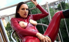 Masturb In Red Latex Catsuit