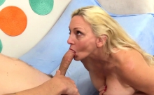 Granny Blows and Tit Fucks a Guy and Gets a Facial
