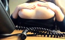 Nancy Miami Playing With Her Tits At Work