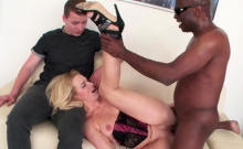 Black guy fucks a blonde cutie